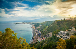 View of Etna from the town Taormina Stock Photo