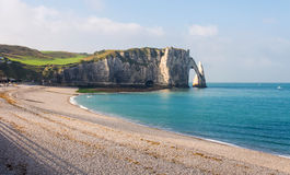 View of Etretat white cliffs and beach in Normandy, France Stock Photos