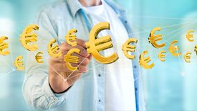 Euro sign flying around a network connection - 3d render. View of a Euro sign flying around a network connection - 3d render Stock Images