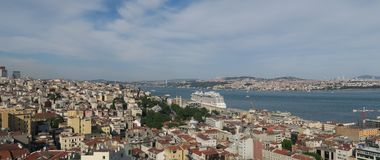 View from the European Side of Istanbul at Bosphorus and Asia Royalty Free Stock Photos