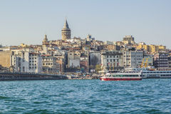 View on the European side of Karakoy and Galata Tower Royalty Free Stock Photo