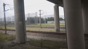 View from the Eurotunnel train as it departs from stock video