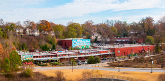 View of Evelyn Street NE and mall on Amsterdam Ave. Atlanta, Georgia, USA - December 16, 2016: Aerial view of the Evelyn Street NE in the Piedmont Park and the Stock Photography