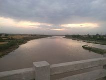 View of evening at bridge in nature stock photo