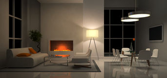 View on the evening interior. Panoramic view on the evening interior 3D rendering Stock Photos