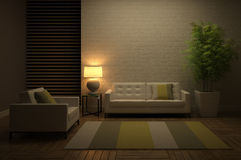 View on the evening interior. 3D rendering Royalty Free Stock Images