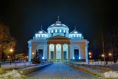 View of evening or night Sophia cathedral church in Tsarskoye Selo Pushkin, St.Petersburg, Russia Stock Photo