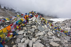 View from Everest base camp with rows of buddhist prayer flags. Stock Image