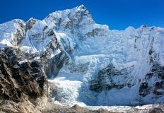 View from Everest base camp to west rock face of N Royalty Free Stock Images
