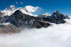 View of everest from gokyo ri Royalty Free Stock Photo