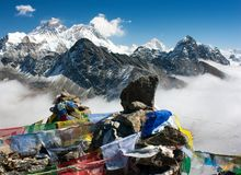 View of everest from gokyo ri Royalty Free Stock Images