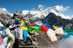 View of everest from gokyo ri with prayer flags stock images