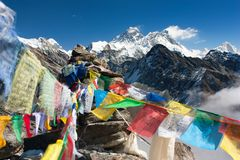 View of everest from gokyo ri with prayer flags stock photo