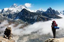View of Everest from Gokyo Ri with tourist Stock Photography