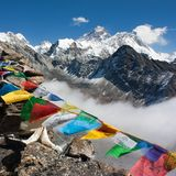 View of everest from gokyo ri - way to Everest base camp Royalty Free Stock Photo