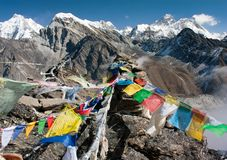 View of everest from gokyo ri - way to Everest base camp Stock Photo