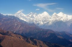 Everest and Himalayan high peaks from a distance royalty free stock image