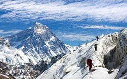 View of Everest and Lhotse with group of climbers Royalty Free Stock Photo