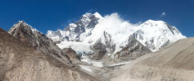 View of Everest Lhotse and Lhotse Shar Royalty Free Stock Photography