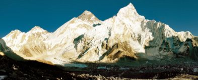 View of Everest and Nuptse from Kala Patthar Royalty Free Stock Image