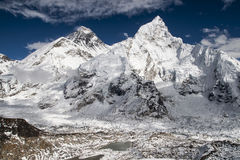 View of the Everest and Nuptse from Kala Patthar Stock Photo