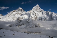 View of the Everest and Nuptse from Kala Patthar Stock Image