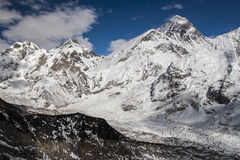 View of the Everest and Nuptse from Kala Patthar Royalty Free Stock Photography