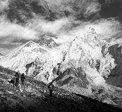Everest and Nuptse from Kala Patthar with people Stock Photo