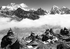 View of everest with stone mans from gokyo ri Royalty Free Stock Photography