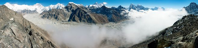 View of Everestse, Lhotse and cho oyu with Ngozumb Royalty Free Stock Image