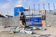 View of the  Everton Football Club stadium and statue of Dixie Dean, Liverpool, UK Royalty Free Stock Photo