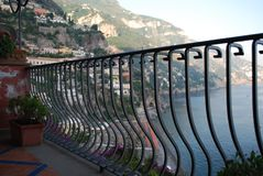 Dreamy view from the Balcony, Positano, Amalfi Coast, Italy royalty free stock images