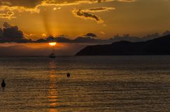 Evocative sunset in the coasts of Italy. View of evocative sunset in the coasts of Italy Royalty Free Stock Photos