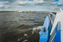 View from the excursion boat on the Neva River in St. Petersburg. Copy space Stock Images