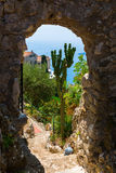 View from the exotique garden in Eze, South France, to the Mediterranean Sea stock photo