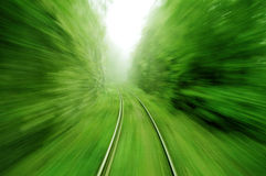 View from an express train on high speed. Blurry image Stock Photo