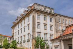 View of the exterior façade of the College of São Jeronimo, a building also used by the University of Coimbra`s international. Coimbra / Portugal - 04 04 stock image