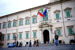 A view of the exterior of the The Quirinal Palace in Rome. Rome Italy The Quirinal Palace known in Italian as the Palazzo del Quirinale or simply Quirinale is a Stock Image