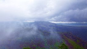 View of an extinct volcano. Mexico. An old extinct volcano among the clouds and fog in the middle of the jungle. Mexico. Concept of wildlife, eco-tourism stock images