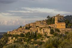 View of Eze medieval village at sunrise stock images