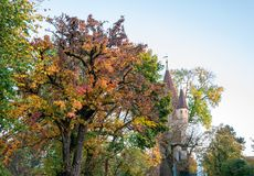 View on tower in Augsburg during autumn stock photo