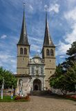 View of the facade of the Church of St. Leodegar in Lucerne, Switzerland stock photos