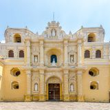 View at the facade of La Merced Church in Antigua Guatemala. Facade of La Merced Church in Antigua Guatemala stock photos