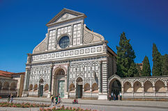 View of the facade in many types of marbles from the Santa Maria Novella church in Florence. royalty free stock photo
