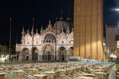 Night photography of the Basilica of San Marco and part of the bell tower, Venice, Italy. royalty free stock photos