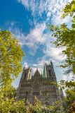 Facade of old cathedral in Trondheim, Norway. Royalty Free Stock Photo