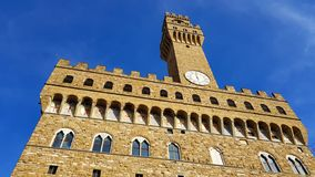 View of the facade of Palazzo Vecchio in Florence stock photos