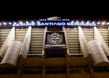 View of the facade of the Santiago stadium Bernabeu del Real Madrid at night. Santiago stadium Bernabeu del Real Madrid at night with wide opening of the stock images
