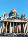 View of the facade of St. Isaac`s Cathedral. With columns stock photo
