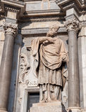 View facade and statue of the Cathedral of Saint Agatha in Catania Royalty Free Stock Photos